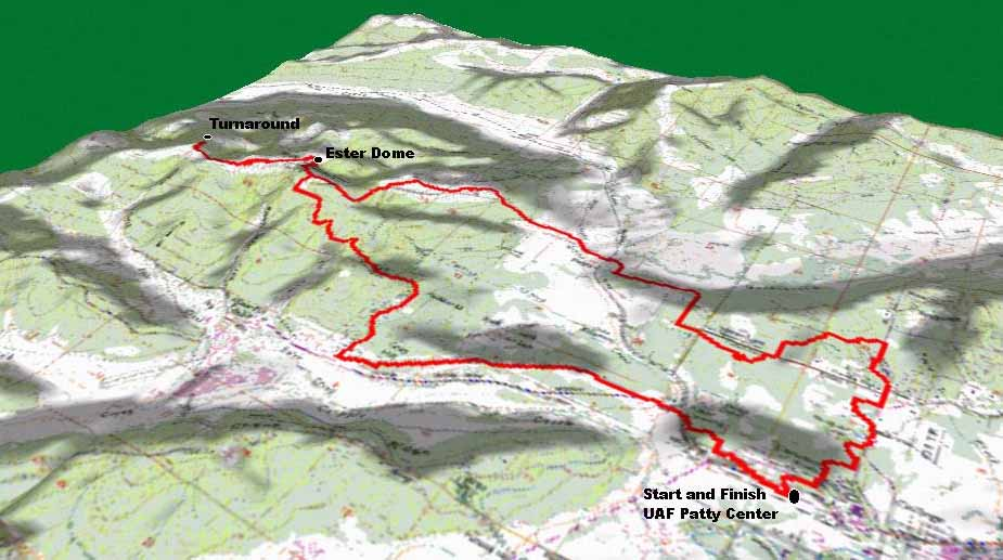 Oblique view of the course